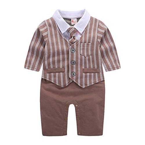 AIKSSOO Baby Boy Gentleman Romper Formale Hochzeitsanzug Smoking Krawatte Size 70 (Brown)
