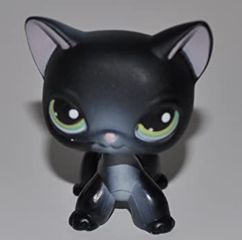 Shorthair #336  Black Green Eyes White Ear nose chest  - Littlest Pet Shop  Retired  Collector Toy - LPS Collectible Replacement Figure - Loose  OOP Out of Package & Print