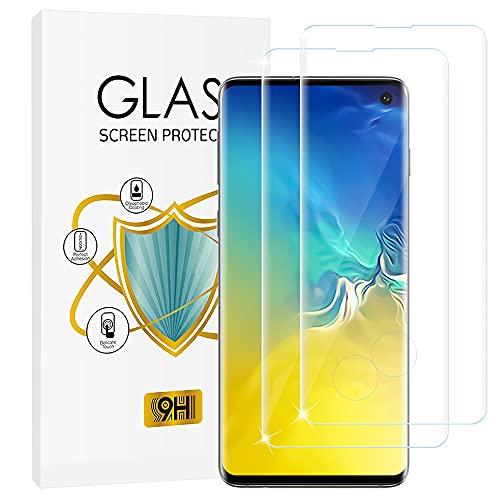 wsky Panzerglas Schutzfolie für Samsung Galaxy S10 [2 Stück], 3D Volle Abdeckung, 9H Festigkeit, Anti-Kratzen, Anti-Bläschen, Leichte Montage, Ultra-klar Bildschirmschutzfolie für Samsung Galaxy S10