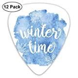 Guitar Picks - Abstract Art Colorful Designs,Winter Time Typographic Design Hand Drawn Style Phrase Blue Watercolor Spot,Unique Guitar Gift,For Bass Electric & Acoustic Guitars-12 Pack