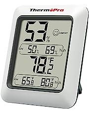 Thermopro TP50 Digital Termohygrometer Inomhus Termometer, Hygrometer, Temperatur och Luftfuktighetsmätare för Klimatkontroll och Luftövervakning, Grå