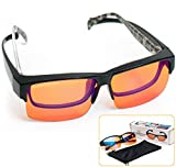 Fitover Anti-Blue Blocking Computer Glasses/w Flex Frame Fits Over Prescription Eyeglasses  Amber Orange to Block Blue Light  Better Night Sleep & Reduce Eyestrain Migraine Headaches Insomnia