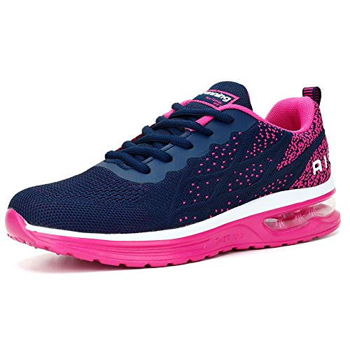 Sport Running Shoes for Womens Mesh Breathable Trail Runners Fashion Sneakers Navy Rose, 8.5