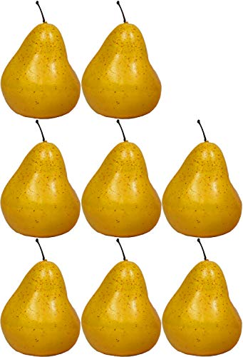 Set of 8 Decorative Life Size Faux Yellow Pears - Great for Decorating your Home, Creating a Store Display, and Photo Props - Realistically Colored and Sized Fruit - Measures 3