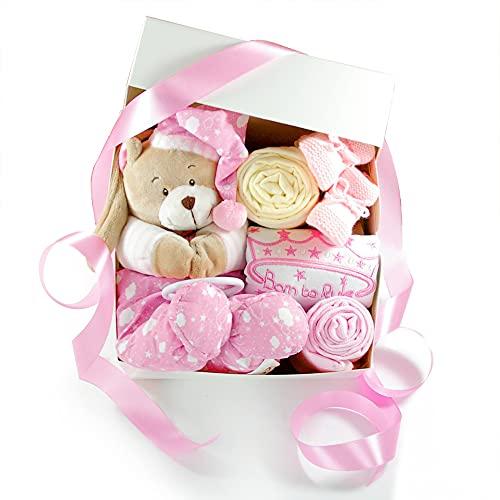 dubistda-WINDELTORTEN-® Baby Geschenkbox zur Geburt SPIELUHR TEDDYBÄR rosa   Geschenkkorb 6-teilig