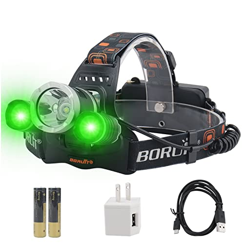 BORUIT RJ-3000 LED Green Headlamp,3 Modes White and Green LED Hunting Headlight,USB Rechargeable 5000 Lumens Tactical Head lamp for Fishing Running Camping Hiking