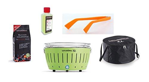 LotusGrill XL Starter-Set 1x XL Grill Limettengrün mit USB-Anschluß, 1x Buchenholzkohle 1kg, 1x Brennpaste 200ml, 1x Würstchenzange Orange, 1x Transport-Tragetasche XL - Der raucharme Holzkohlegrill