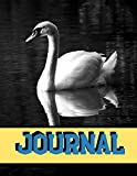 """Journal: White Swan Black And White Writing Gift - Lined NOTEBOOK, 130 pages, 8.5"""" x 11"""""""
