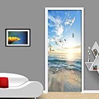 ドア壁画デカール 自己粘着ドアステッカー海景ポスターウォールステッカードア壁画PvcステッカーDiy装飾