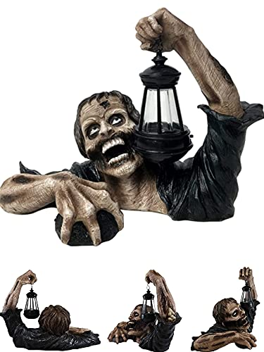 Zombie Garden Sculpture with LED Lights, Halloween Zombie Crawl Out Decoration, Garden Walking Dead...