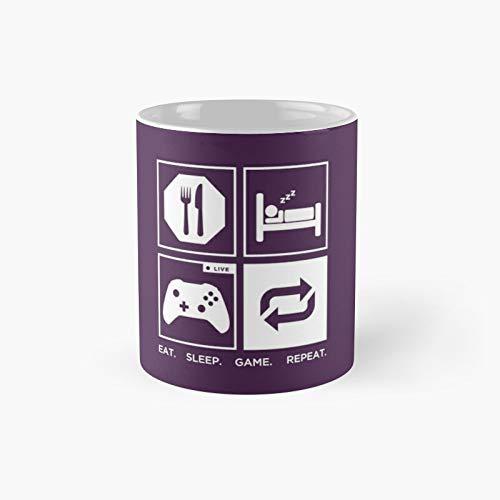 Eat Sleep Game Repeat Classic Mug - 11 Ounce For Coffee, Tea, Chocolate Or Latte.