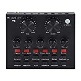 V8 Sound Card for Live Streaming,Live Sound Card, Bluetooth V4.1 Audio Mixer for Music Recording Singing Podcast Audio Card for Live Recording Home KTV Voice Chat(Black)