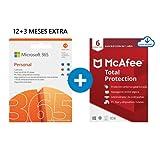 Microsoft 365 Personal | Apps Office 365 | PC/MAC/tableta/teléfono | 12+3 Meses + McAfee Total Protection 2020 | 6 Dispositivo | 12 Meses | PC/Mac/Android/Smartphones - Código de activación por email