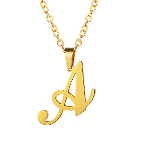 PROSTEEL Initial Necklaces Gold Chain Pendant for Men Birthday Gift Collares Neclaces Letter A Name Necklace Choker