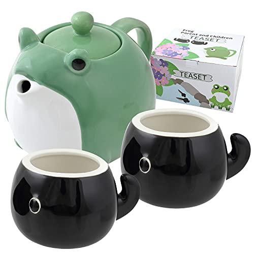 HAKONE YOSEGI Teapot & Teacup, Frog, Japanese tea set, Tea Service Set Ceramic Tea Pot (27 OZ), 2-Piece Tea Cups (4.7 OZ) (tea pot & 2 tea cup)