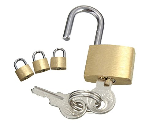 C63 Pack of 3 Brass Padlocks for Suit Case, Travel Bag, Laptop, Hand Luggage Etc