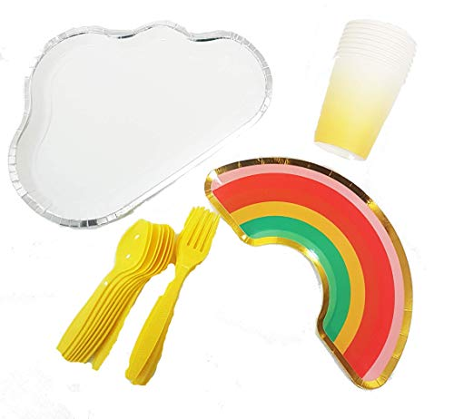 Polka Dot Sky Rainbow Clouds Birthday Party Tableware Pack Paper Plates Cups Cutlery Vibrant Colours 8 Pack (32pcs)