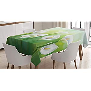 Lunarable Calla Lily Tablecloth, Illustration of Spring Seasonal Design Flowers on Green Background, Rectangular Table Cover for Dining Room Kitchen Decor, 52″ X 70″, Yellow White