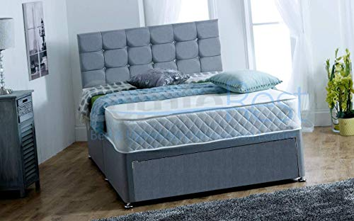 4FT Small Double FOOT JAMBO DRAWER Paris Grey Fabric Divan Bed Set, Memory Mattress and headboard.UK