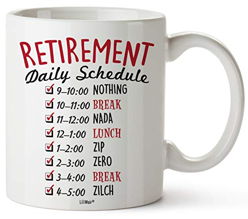 Funny Retirement Gifts for Women Men Dad Mom. Retirement Coffee Mug Gift. Retired Daily Schedule Calendar Mugs for Coworkers Office & Family. Unique Novelty Ideas for Her Nurses Navy Air Force Gag