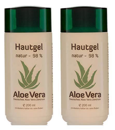 2 Stück Aloe Vera Hautgel 98%, naturbelassen, ohne Parfüm (2 Stück à 200 ml)
