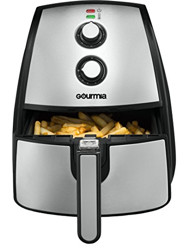 Gourmia GAF560 5 Quart Air Fryer - Oil Free Healthy Cooking - Adjustable Time and Temperature Dials - Removable Crisper Tray - Free Recipe Book Included