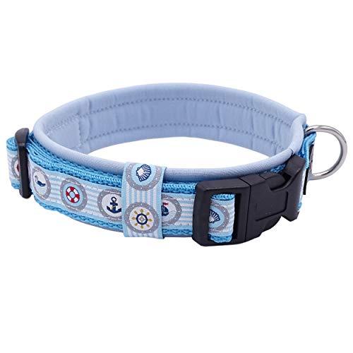 Eve Couture Hundehalsband Halsband Hund Rockabilly Rock´n Roll verstellbar gepolstert Maritim Anker hellblau blau weiß 30mm (M (ca. 36-42cm))