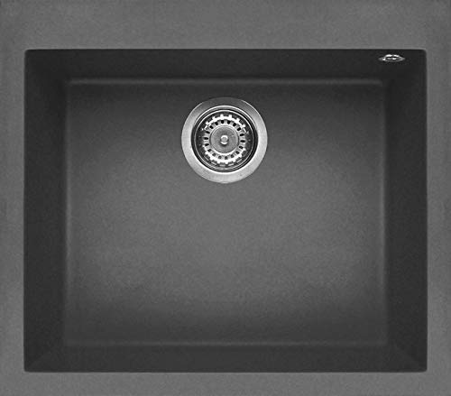 Elleci LGQ10599 Kitchen Sink Made of Granite (Keratek) with a Single Bowl Quadra 105-K99 Grey-LGQ10599, Dark Grey