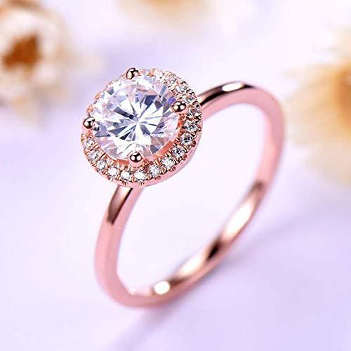 Amazon Com 7mm Round Cut Cz Diamond Cubic Zirconia Engagement Wedding Ring 14k Rose Gold Plain Gold Band Halo Minimalist Simple Bridal Jewelry Women Men Promise Anniversary Gift For Her Handmade