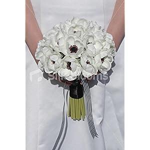 Elegant White Real Touch Anemone Poppy Wedding Bridal Bouquet
