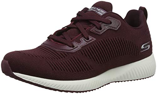 Skechers Women's BOBS Squad-Total Glam Trainers, Red (Burgundy Burgundy), 8 UK 41 EU