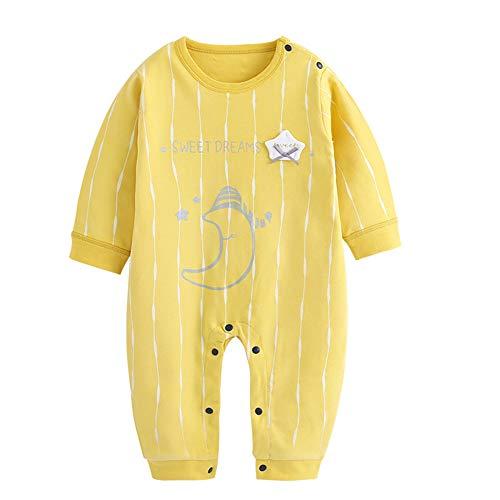 Bebé del patrón de manga larga Romper la luna de dibujos animados ropa interior de algodón transpirable Mono Mono Bodies unisex pijamas del bebé azul 80cm