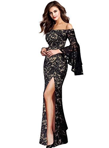 VFSHOW Womens Black and Beige Lace Off Shoulder Ruffle Bell Sleeve Formal Evening Wedding Maxi Dress 2152 BLK 3XL