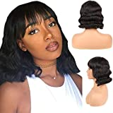 Human Hair Wigs with Bangs Brazilian Nnoe Lace Short Bob Wigs For Woman 12 Inch Bob Straight Hair Wigs Glueless Machine Made Wigs Natural Color with Bangs