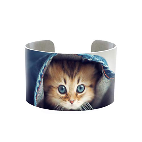 Cute Kitten Baby Little Cats Sweet Patterns Jewelry Aluminum Cuff Lovely Cats Babies Style Aluminum Cuff Gifts 3