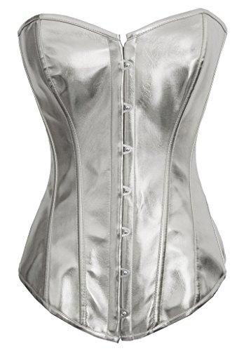 Alivila. Y Fashion para Mujer Sexy Steampunk gótico de Piel sintética Deshuesada corsé Bustier - Plateado -
