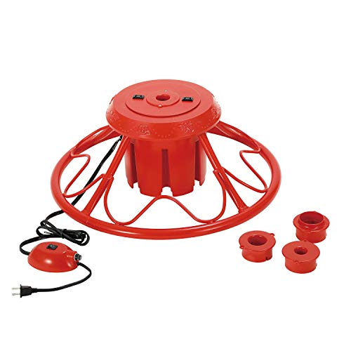 Home Heritage Versatile Electric Rotating Stand Base for Artificial Christmas Trees up to 9 Feet Tall, Red