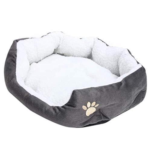 YYANG Nido De Mascota Cálido Lavable Cama Dormir Fleece Basket con Cojín para Cachorro Perro Gato Gris Piel De Cordero Perro Pata Patrón,50x40 Cm