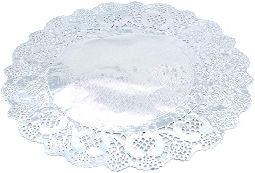 Amkoskr 100 Pcs 12 Inch Round Lace Silver Paper Doilies Silver Foil Paper Placemats Doily Paper Pad for Cakes Crafts Party Weddings Tableware D