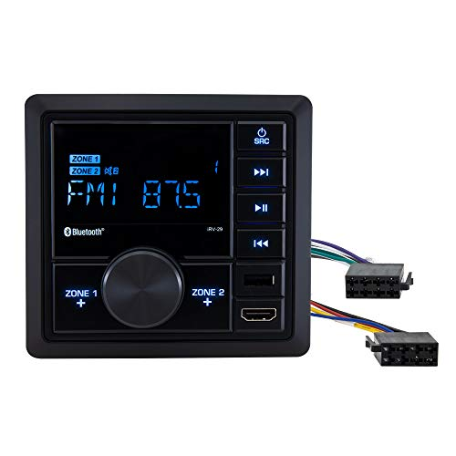 RecPro RV Mechless Radio Stereo Unit | AM/FM | Bluetooth | Wall Mount | Dual Zone (No, Do Not Include Speakers)