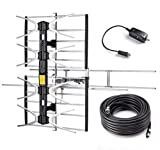 PBD Outdoor Digital HDTV Antenna with High Gain and Low Noise Amplifier, 40FT RG6 Coaxial Cable, 2 Way Splitter, 150 Miles Range, UHF and VHF, Easy Installation - Upgraded Version