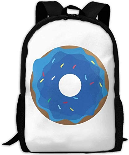 School Bags,Backpack, Sports, Camping Adult Travel Backpacks Laptop Computer Bag Carry Everyday Bookbag Blue Dougnut Food Unisex Durable Casual Daypack for School Business