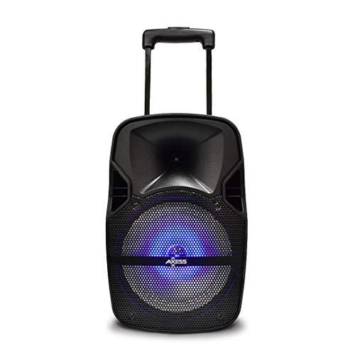 Axess PABT6017 Bluetooth PA 8'+1.5' Loud Wireless Bluetooth Speaker, Disco Lights, Remote, Rech. Battery + 9 Volt Adaptor & Wired Mic