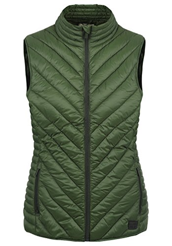 BlendShe Sadie Damen Weste Steppweste Outdoor Weste Mit Stehkragen, Größe:M, Farbe:Duffle Bag Green (77019)