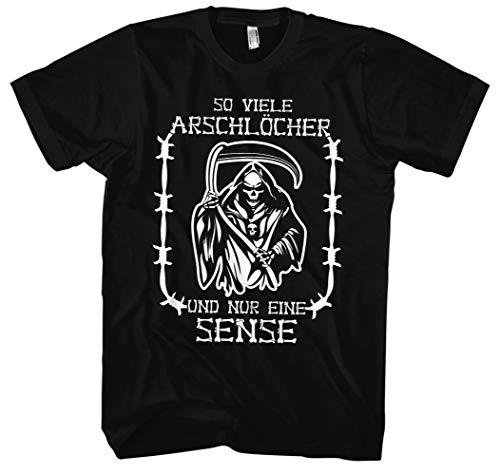 So viele Arschlöcher T-Shirt | Geschenk | Spaß | Herrentag | Sprüche | lustiges | Männer | Herren | Zitate | und nur eine Sense | Fun (XL, Schwarz)