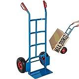 Carrello a mano portapacchi portata max 200 kg in acciaio con ruote pneumatiche | Hand Tro...