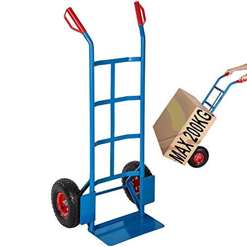 Carrello a mano portapacchi portata max 200 kg in acciaio con ruote pneumatiche | Hand Trolley portasacchi portatutto portacasse trasporto