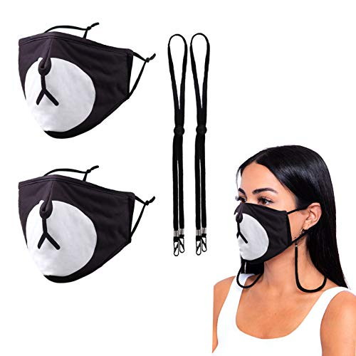 Reusable Cloth Designer Face Mask Women Men Female Ladies Adult, Washable Cotton Fabric Adjustable Madks,Winter Adult One Piece 3ply Spandex Most Comfortable Bear Panda
