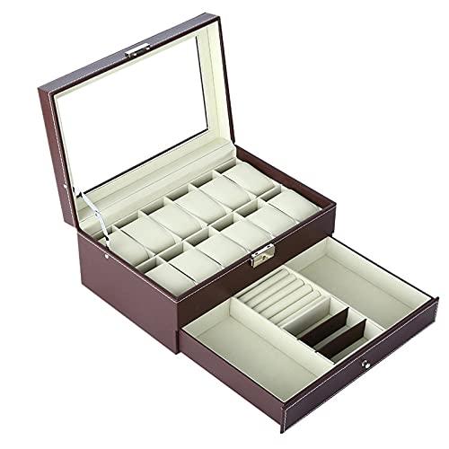 HRTX Caja Joyero,3 Niveles Cuero con Espejo para Pendientes, Pulseras, Anillos, Almacenamiento Expositor