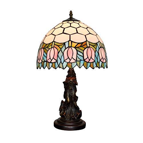 MOZUSA 12' lámpara de Escritorio Estadounidense Pink Tulip Sala Comedor Dormitorio de Cristal Ángel Belleza Mesita de luz de la lámpara Retro Bar de Interior Lámparas de Mesa